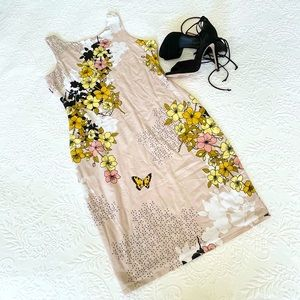 Guess Nude Floral Sleeveless Knit Bodycon Dress